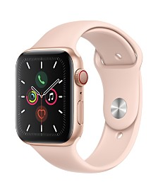 Apple Watch Series 5 GPS + Cellular, 44mm Gold Aluminum Case with Pink Sand Sport Band