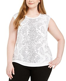 Plus Size Embellished-Front Top