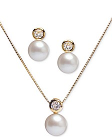 "2-Pc. Set Cultured Freshwater Pearl (8mm) & Cubic Zirconia 18"" Pendant Necklace and Stud Earrings Set in 18k Gold-Plated Sterling Silver"
