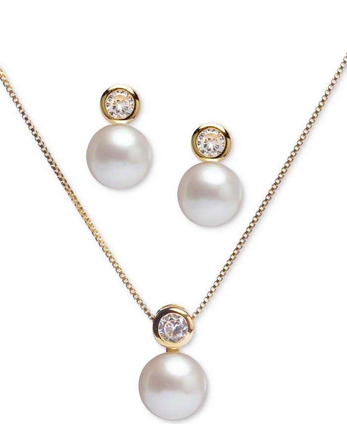 """Macy's - 2-Pc. Set Cultured Freshwater Pearl (8mm) & Cubic Zirconia 18"""" Pendant Necklace and Stud Earrings Set in 18k Gold-Plated Sterling"""