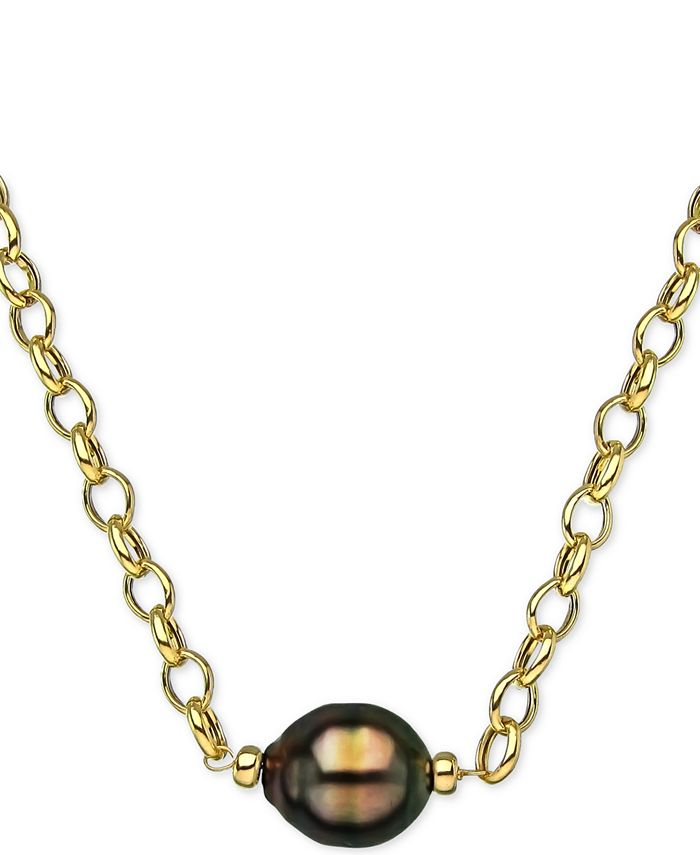 """Macy's - Cultured Black South Sea Baroque Pearl (11mm) 19"""" Pendant Necklace in 18k Gold-Plated Sterling Silver"""