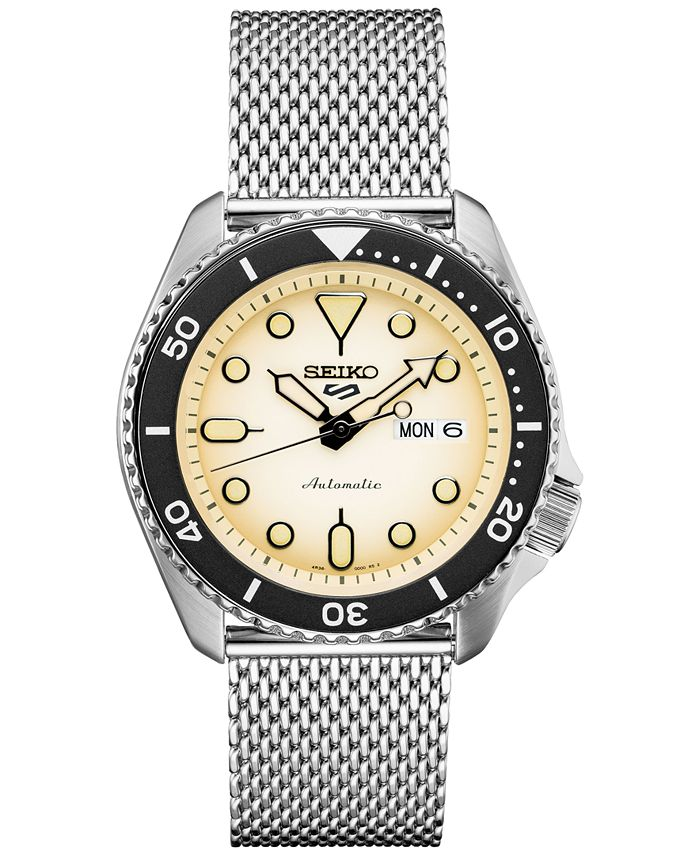 Seiko - Men's Automatic 5 Sports Stainless Steel Mesh Bracelet Watch 42.5mm