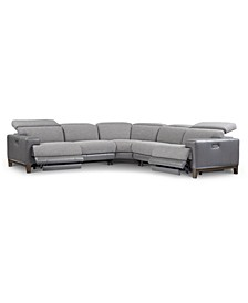 Madiana 5-Pc. Fabric and Leather Sectional with 2 Power Recliners, Created for Macy's