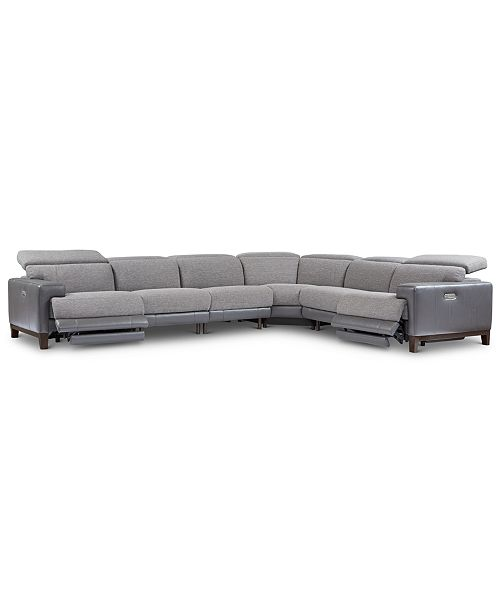 Furniture Madiana 6-Pc. Fabric and Leather Sectional with 2 Power Recliners, Created For Macy's