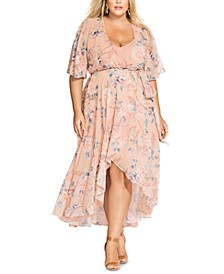 Trendy Plus Size High-Low Wrap Dress