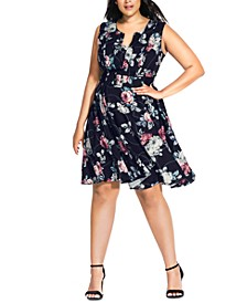 Trendy Plus Size Belted Rose & Chain-Print A-Line Dress