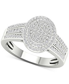 Diamond Oval Cluster Statement Ring (1/2 ct. t.w.) in Sterling Silver