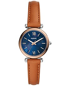 Women's Carlie Mini Brown Leather Strap Watch 28mm