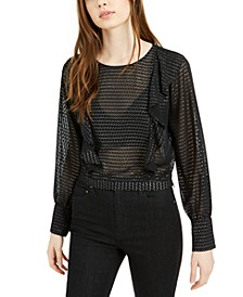 Ruffled Metallic-Dot Blouson-Sleeve Top, Created For Macy's