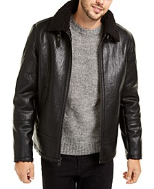 Men's Faux Short Shearling Motorcycle Jacket, Created For Macy's