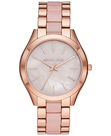 Women's Slim Runway Rose Gold-Tone Stainless Steel & Blush Acetate Bracelet Watch 42mm