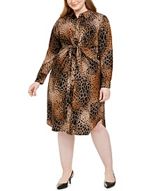 Plus Size Printed Tie-Front Shirtdress, Created For Macy's