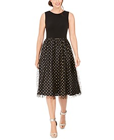 Clip-Dot Fit & Flare Dress