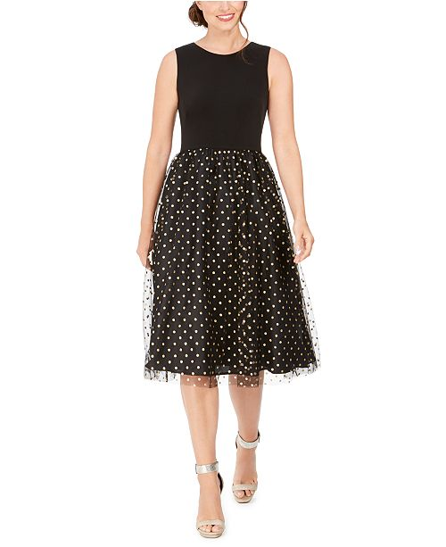 Calvin Klein Clip-Dot Fit & Flare Dress