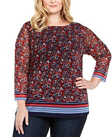 Plus Size Boat-Neck Mesh Top, Created For Macy's
