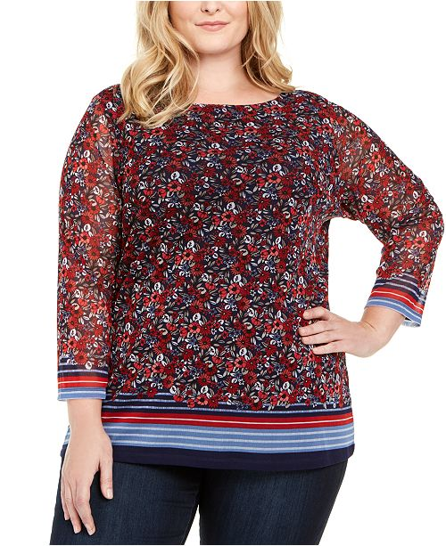 Charter Club Plus Size Boat-Neck Mesh Top, Created for Macy's
