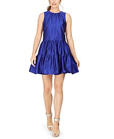 Fit & Flare Tiered Taffeta Dress