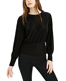 Velvet-Striped Blouson-Sleeve Top, Created For Macy's