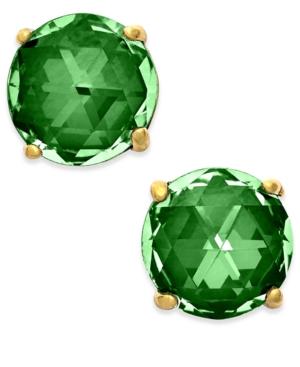 Kate Spade 14k Gold-plated Crystal Stud Earrings In Emerald