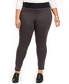 Plus Size Wide-Waistband Ponté-Knit Leggings, Created For Macy's