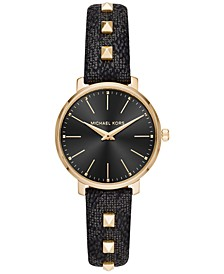 Women's Mini Pyper Black Logo & Studs PVC Strap Watch 32mm
