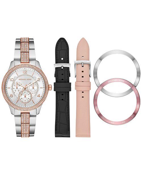 Michael Kors Women's Chronograph Runway Two-Tone Stainless Steel Bracelet Watch Gift Set 38mm