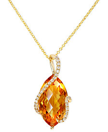 Gemma by EFFY Citrine (8-1/2 ct. t.w.) and Diamond (1/8 ct. t.w.) Marquise Wrap Pendant in 14k Gold