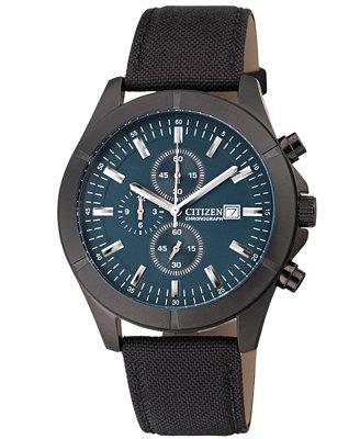 citizen s chronograph black canvas 45mm