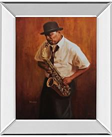 "Sax Player Mirror Framed Print Wall Art, 22"" x 26"""