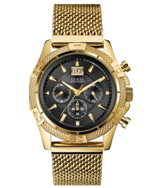 Guess Men's Chronograph Gold-Tone Stainless Steel Mesh Bracelet 46mm U0205G1