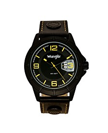 Men's Watch, 48MM IP Black Notched Case, Sand Satin Black Dial with Yellow Arabic Numerals, Analog, Yellow  Black Strap with Logo Rivets and Yellow Stitching