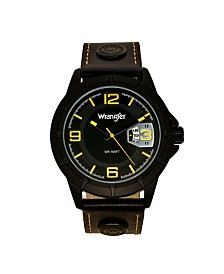 Wrangler Men's Watch, 48MM IP Black Notched Case, Sand Satin Black Dial with Yellow Arabic Numerals, Analog, Yellow  Black Strap with Logo Rivets and Yellow Stitching