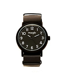 Men's Watch, 51MM IP Black Case with Black Dial, Black Arabic Numerals with Black Hands, Black Nato Strap, Analog, Black Second Hand