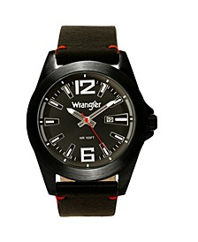 Men's Watch, 48MM Silver Case, Black Dial, Black Strap, Analog, Second Hand, Date Function