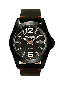 Wrangler Men's Watch, 48MM Silver Case, Black Dial, Black Strap, Analog, Second Hand, Date Function