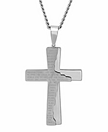 Men's The Lord's Prayer Distressed Tablet Cross Pendant Necklace