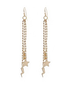 3 Row Chain Linear Charm Earrings