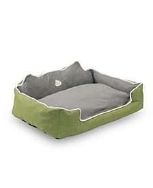 Water Resistant Rectangle High Back Bolster Comfort Pet Bed with Removable and Reversible Insert Cushion Collection