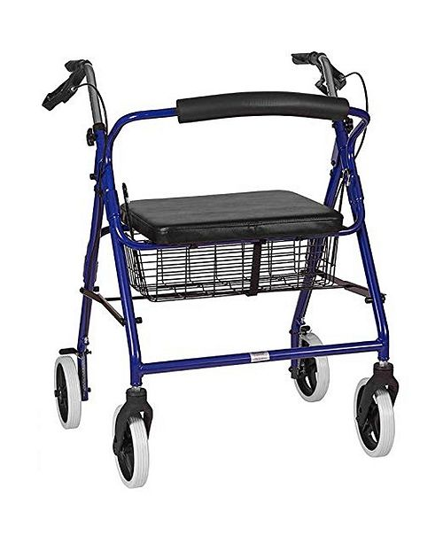 DMI Lightweight Extra-Wide Aluminum Rollator Walker with Seat