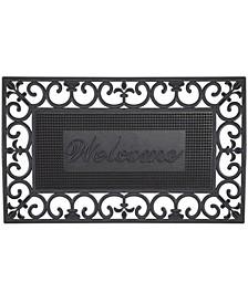 """Fleur De Lis Pin Rubber Pins Welcome Doormat, 18"""" x 30"""""""