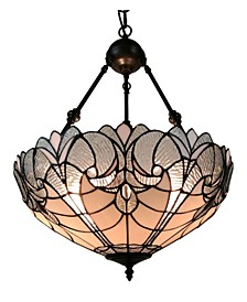 Tiffany Style 2-Light White Hanging Chandelier Lamp