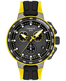 Men's Swiss Chronograph Tour De France 2019 Black & Yellow Silicone Strap Watch 44.5mm