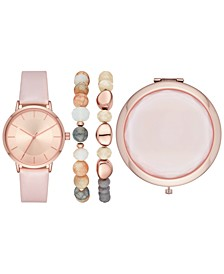 Women's Blush Vegan Leather Strap Watch 38mm Box Set