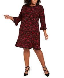 Michael Michael Kors Plus Size Lace-Print Bell-Sleeve Dress