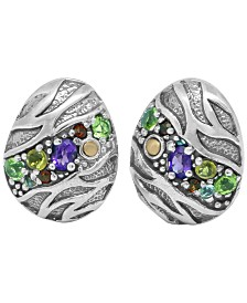 Multi-Gemstonen (3/4 ct. t.w.) Tiger Classic Stud Clip Earrings in Sterling Silver and 18k Yellow Gold Accents