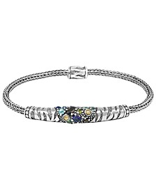 Multi-Gemstone( 7/ 8 ct. t.w.) Tiger Classic Bracelet in Sterling Silver and 18k Yellow Gold Accents