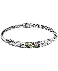 Multi-Gemstone (7/8 ct. t.w.) Crocodile Classic Bracelet in Sterling Silver and 18k Yellow Gold Accents