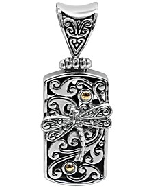 Sweet Dragonfly Classic Pendant Necklace in Sterling Silver and 18k Yellow Gold Accents