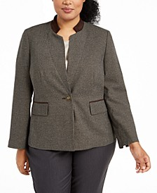 Plus Size Houndstooth-Print Jacket