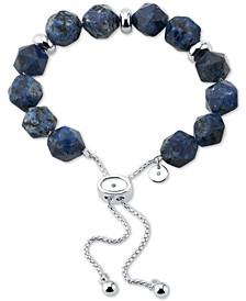 Blue Sodalite Stone Bead Bolo Bracelet in Fine Silver-Plate
